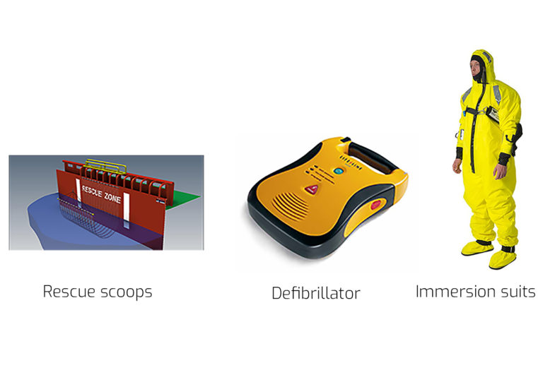 Rescue scoops, defibrilator, immersion suits